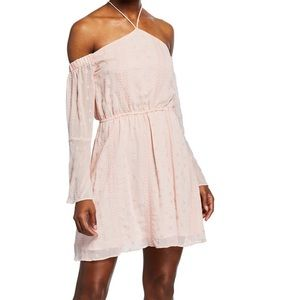 NWT J.O.A Off the shoulder embroidered dress S